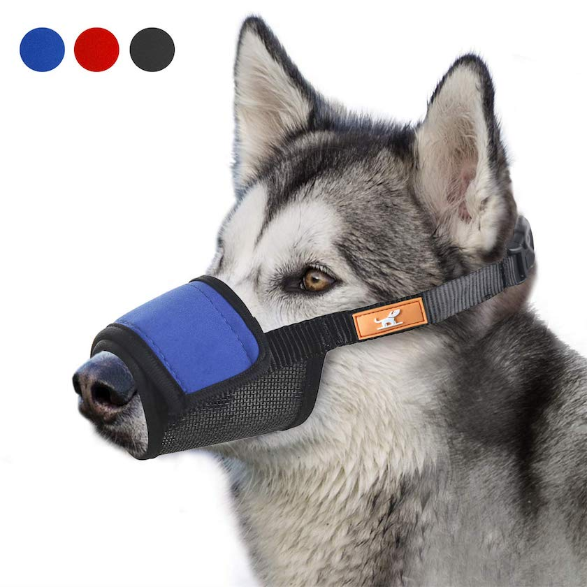 Wintchuk Soft Dog Muzzle Cover with Dog Hook & Loop