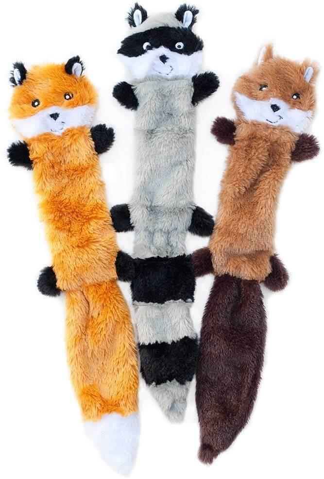 ZippyPaws Skinny Peltz No Stuffing Squeaky Plush Dog Toys